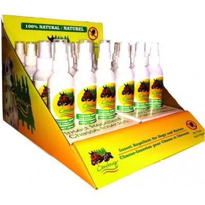 Chasse-insectes Citrobug pour chiens et chevaux - Présentoir de 24 bouteilles de 125 ml / 4 oz