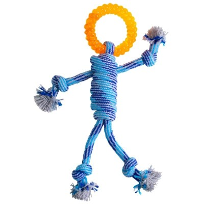 Jouet en corde bleue tressée en forme d'un bonhomme - 30 cm