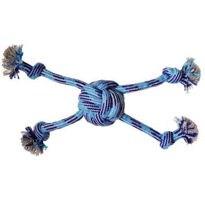 Jouet en corde bleue tressée en forme de pieuvre - 30 cm