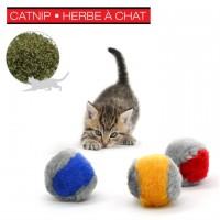 Balles fuzzy avec herbe à chat - couleurs assortis - sac de 36