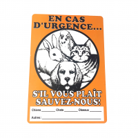 "Animal sign ""En cas d'urgence"" in french"