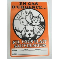 "Animal sign ""In case of emergency"" in english and ""En cas d'urgence"" in french"