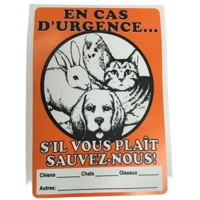 """Affiche pour animal """"En cas d'urgence"""""""
