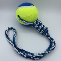 Rope dog toy with big tennis ball