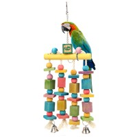 Bird toy made of 4 ropes with coloured wood and bell  - 40 cm x 13 cm x 3 cm